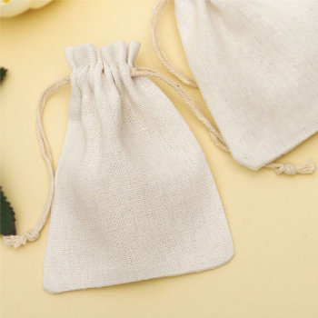 Льняной подарочный мешочек кремового цвета (12 х 9 см)