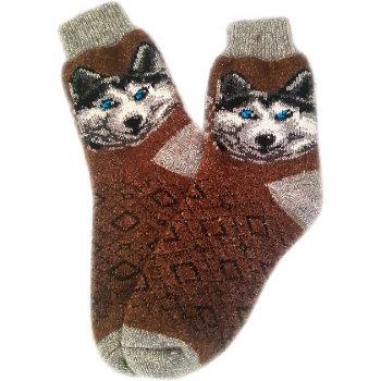 """Рассказовские шерстяные носки """"Хаски и ромбики"""" (размер 41-44)"""