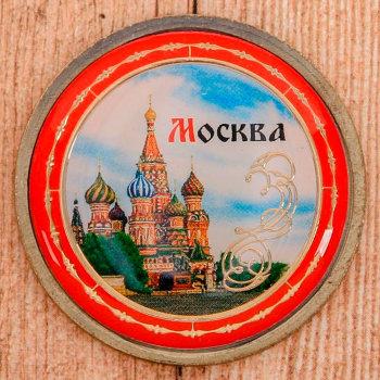 """Монета """"Москва"""" с цветной вставкой (4 см)"""