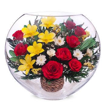 Розы и орхидеи в стекле ELM-05 (30 см)