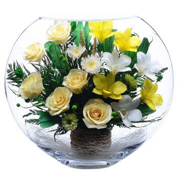 Розы и орхидеи в стекле ELM-02 (30 см)