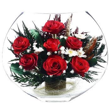 Розы в стекле EMR-03 (25 см)
