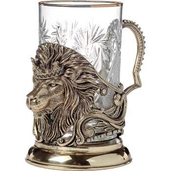 """Латунный подстаканник """"Лев"""" со стаканом"""