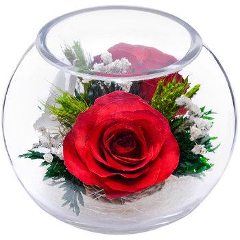 Розы и орхидеи в стекле BSM2 (12 см)