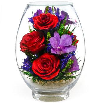 Розы и орхидеи в стекле VSM-02/VMM2 (17,5 см)