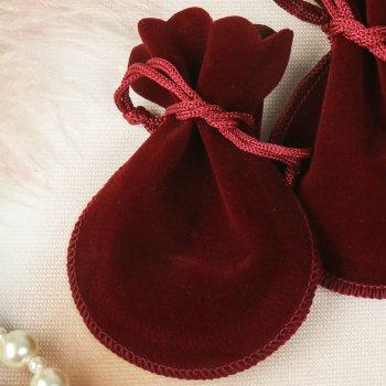 Бархатный подарочный мешочек бордового цвета (10 х 8 см)