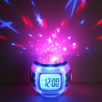 Часы-будильник с проектором звёзд и музыкой