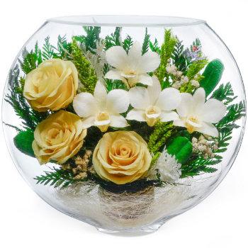 Розы и орхидеи в стекле ESM-06 (20 см)
