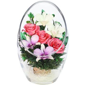 Розы и орхидеи в стекле ArMM2 (22,5 см)