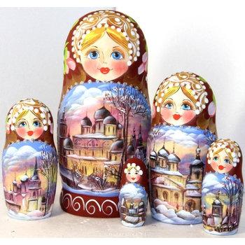 "Матрёшка ""Русская зима"" (5 мест, 17 см)"