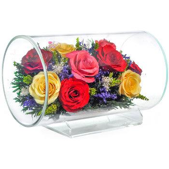 Розы в стекле TLR5с3 (23 см)