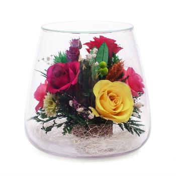 Розы в стекле POMR5c (15 см)