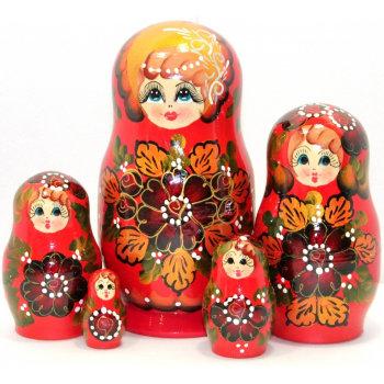 "Матрёшка ""Наташа"" красного цвета (5 мест, 17 см)"