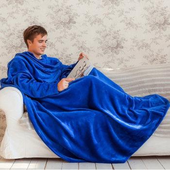Синий плед с рукавами Handy (200 х 150 см)