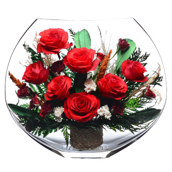 Розы в стекле EMR-05 (25 см)