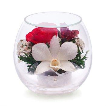 Розы и орхидеи в стекле BmiM-01 (9 см)