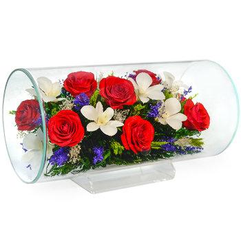 Розы и орхидеи в стекле TJM3 (32 см)