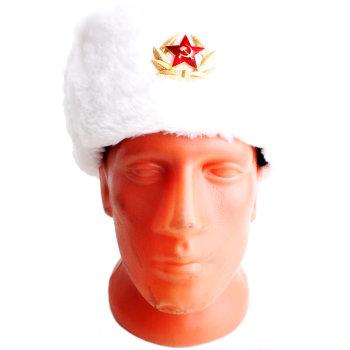 Сувенирная шапка-ушанка белого цвета