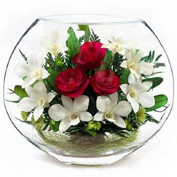 Розы и орхидеи в стекле EMM-05 (25 см)