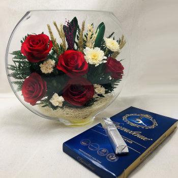 Розы в стекле ESR-01 (20 см)