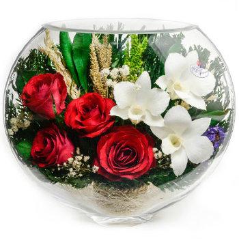 Розы и орхидеи в стекле ESM-05 (20 см)