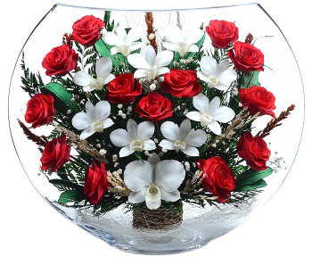 Розы и орхидеи в стекле EJM-02 (40 см)