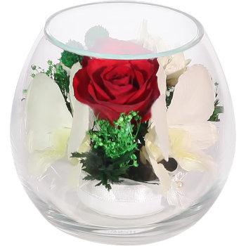 Розы и орхидеи в стекле BmiM-07 (9 см)