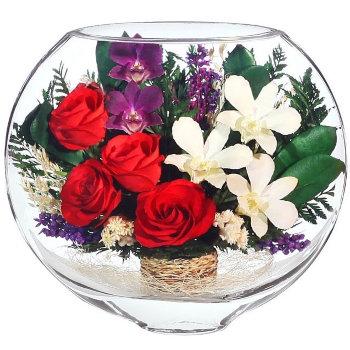 Розы и орхидеи в стекле ESM-03 (20 см)