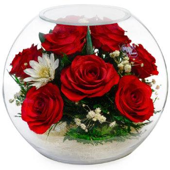 Розы в стекле BNR1 (18,5 см)