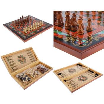 "Шахматы, шашки, нарды 3 в 1 ""Цветы"" (50 x 25 x 5 см)"