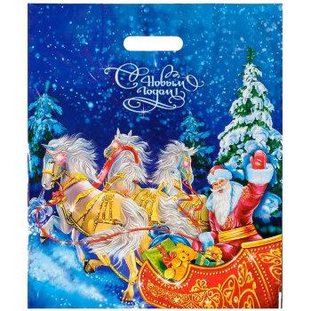 """Полиэтиленовый пакет """"В Новый год на санях"""" (47 х 40 см)"""