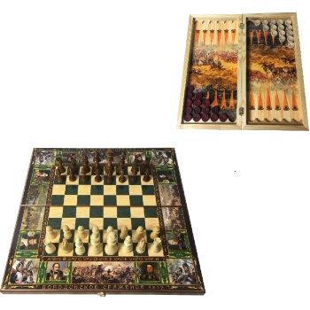 """Шахматы, шашки, нарды 3 в 1 """"Бородино"""" (50 x 25 x 5 см)"""
