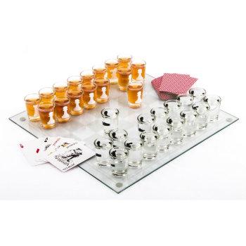 """Алкогольная игра """"Пьяные шахматы"""" с колодой карт и шашками"""