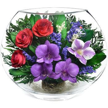 Розы и орхидеи в стекле EMM-09 (25 см)