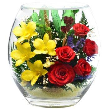 Розы и орхидеи в стекле ERM-05 (22,5 см)