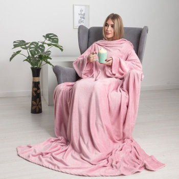 Розовый плед с рукавами Handy (200 х 150 см)