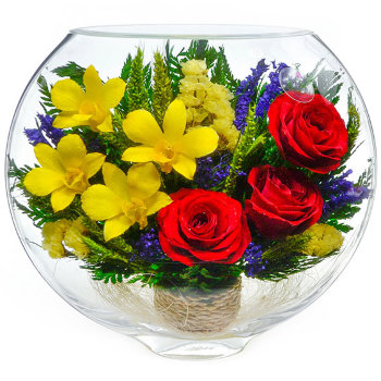 Розы и орхидеи в стекле ESM-08 (20 см)