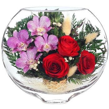 Розы и орхидеи в стекле ESM-01 (20 см)