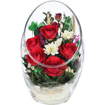 Розы и хризантемы в стекле ArMR1 (23 см)