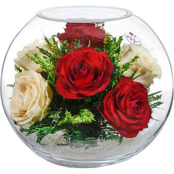 Розы в стекле BNR5c3 (18,5 см)