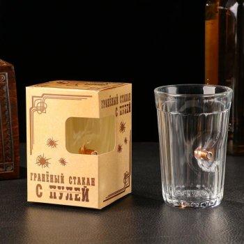 """Гранёный стакан """"Непробиваемый"""" с пулей (250 мл)"""