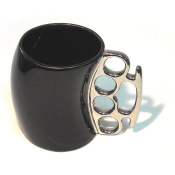 """Кружка """"Кастет"""" чёрного цвета с серебряной ручкой (300 мл)"""