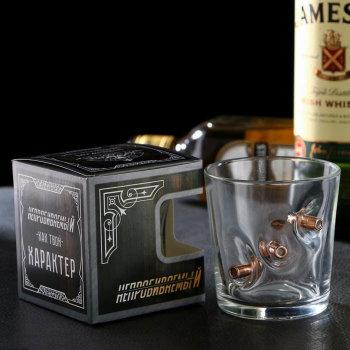 """Бокал для виски """"Непробиваемый"""" с пулями (250 мл)"""