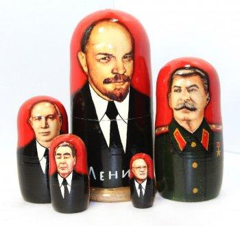 """Матрёшка """"Ленин"""" (5 мест, 17 см)"""