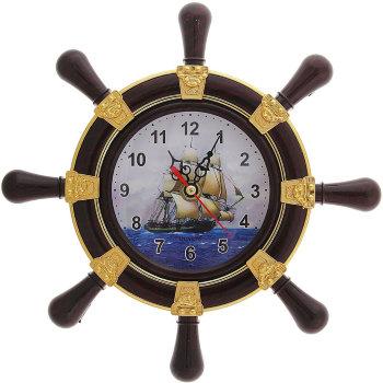 """Настенные часы """"Штурвал и парусник"""" (22 см)"""