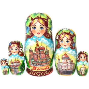 """Матрёшка """"Московские купола"""" (5 мест, 14 см)"""