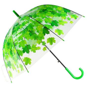 """Прозрачный зонт-трость """"Зелёные листья"""""""