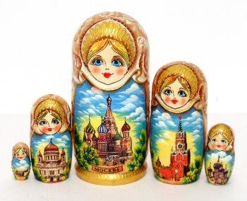 """Матрёшка """"Москва"""" (5 мест, 17 см)"""