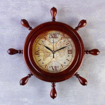 "Настенные часы ""Карта на штурвале"" (34 см)"