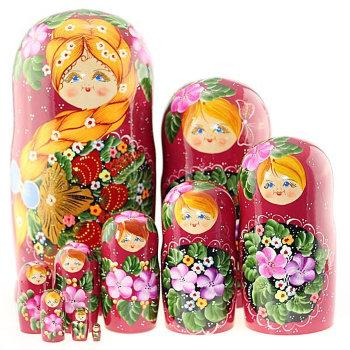 """Матрёшка """"Рыжая коса"""" (10 мест, 25 см)"""